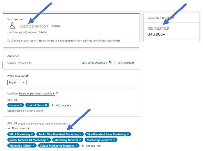 Image of LinkedIn lead generation targeting capabilities for marketing job titles #1