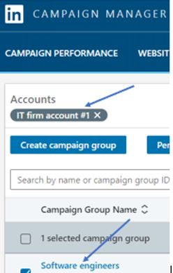 IT account example in linkedin screenshot