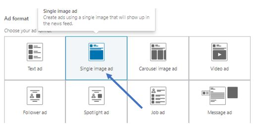 select type of ad image from LinkedIN