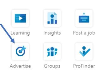 advertise icon in linkedin screenshot