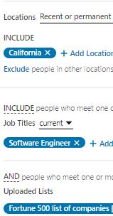 all-inclusive matched list, geo-loco and job title list for LinkedIN